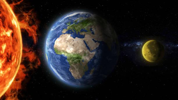earth and moon aligned - flare foto e immagini stock