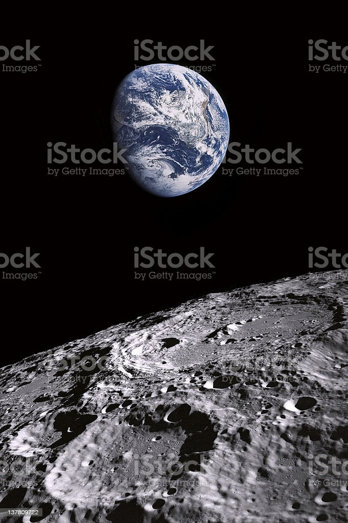 earth and moon crater stock photo