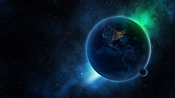 terra e luna sulla galassia blu - luna gibbosa foto e immagini stock