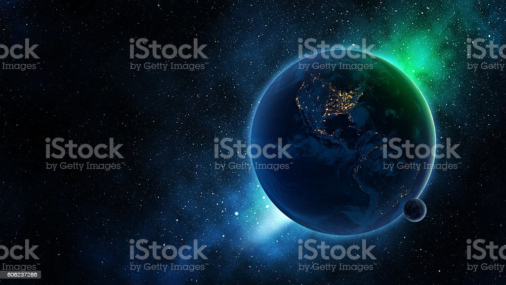 Earth and moon on blue galaxy stock photo