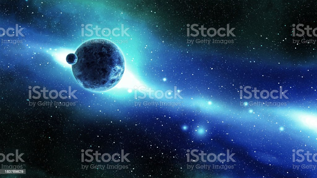 Earth and Moon over the Galaxy in Space royalty-free stock photo