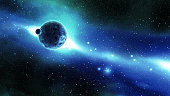 istock Earth and Moon over the Galaxy in Space 183769829
