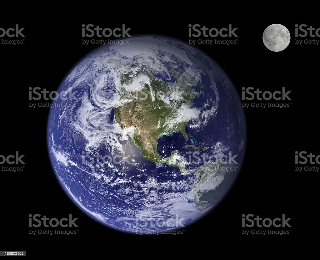 Earth and moon royalty-free stock photo