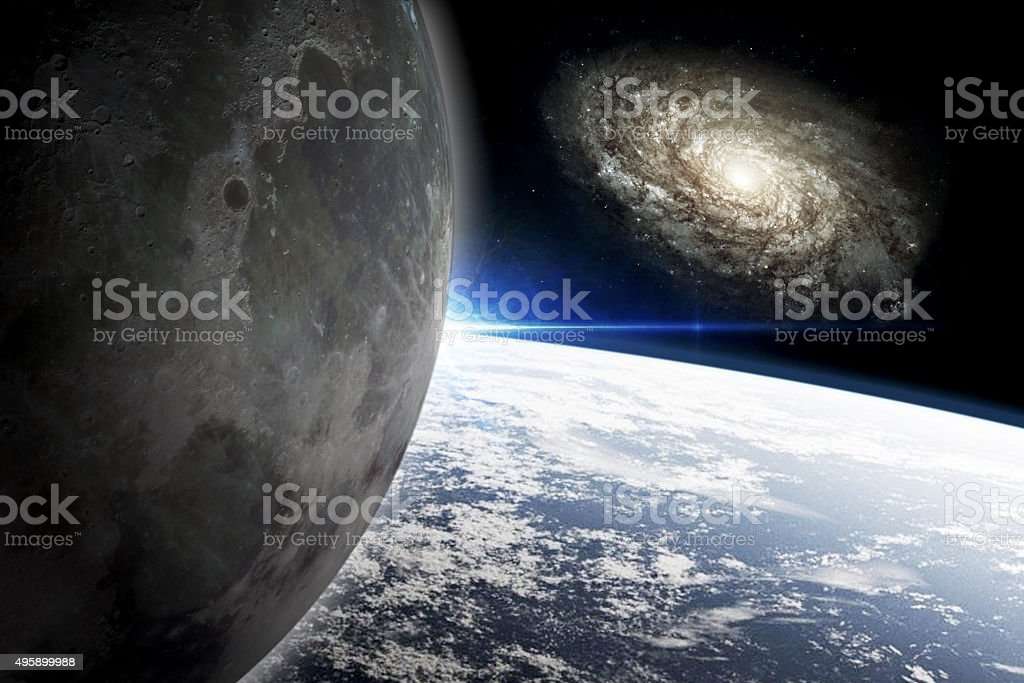 Earth and Moon stock photo