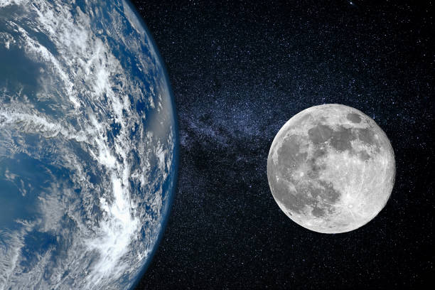 erde und mond - größe der planeten, blick aus dem weltraum - mondhoroskop stock-fotos und bilder