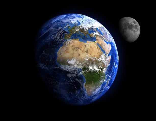 Erde und Mond mit Sternen im Hintergrund. – Foto