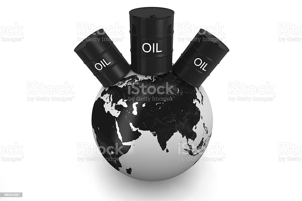 3D Earth and on top oil barrels royalty-free stock photo