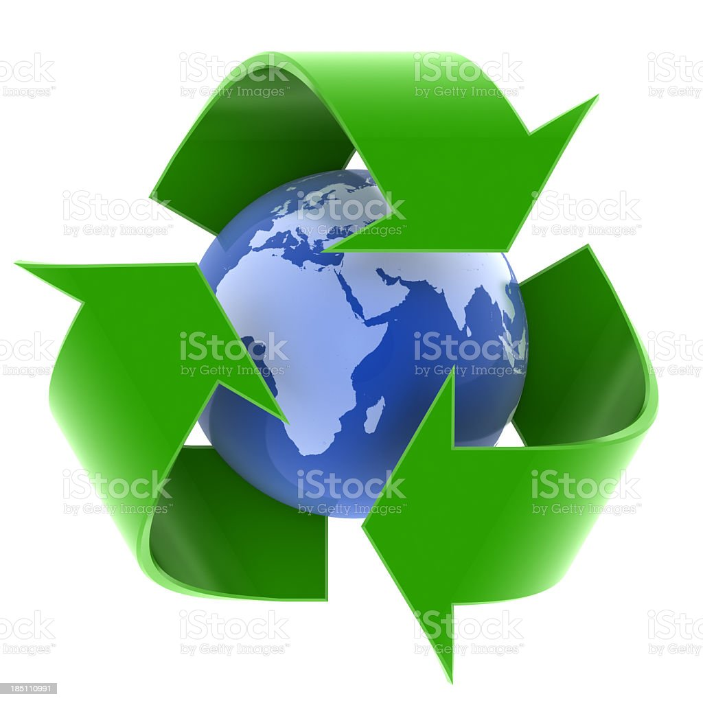 earth and recycling symbol stock photo