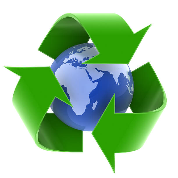 earth and recycling symbol - recycling symbol stock photos and pictures