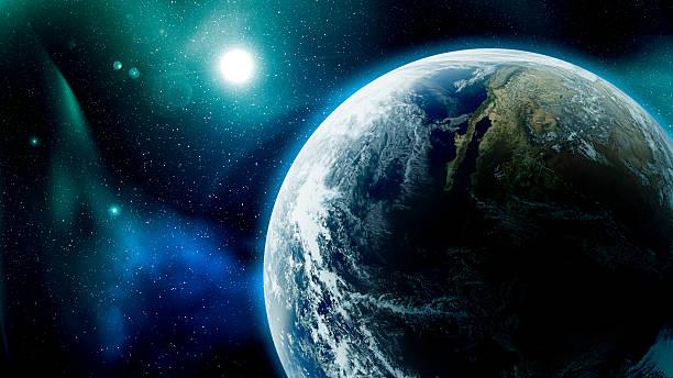 terra e stelle nello spazio - luna gibbosa foto e immagini stock