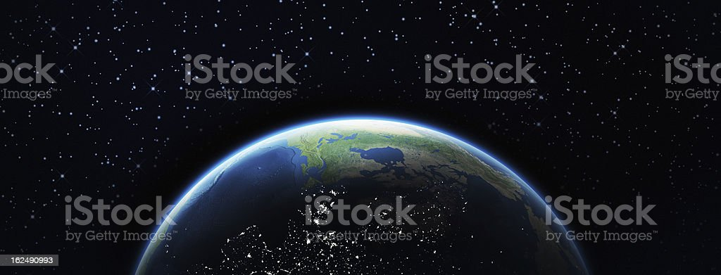 Earth and stars stock photo