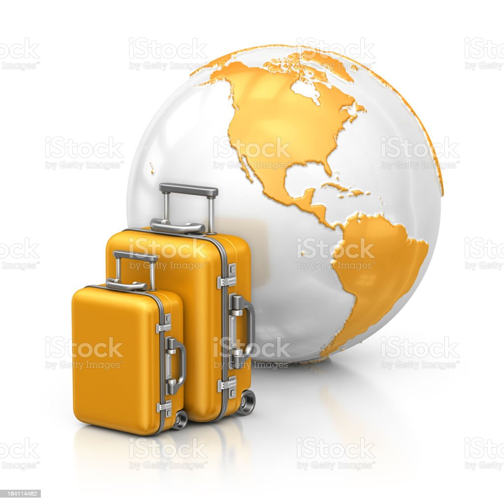earth and suitcases stock photo
