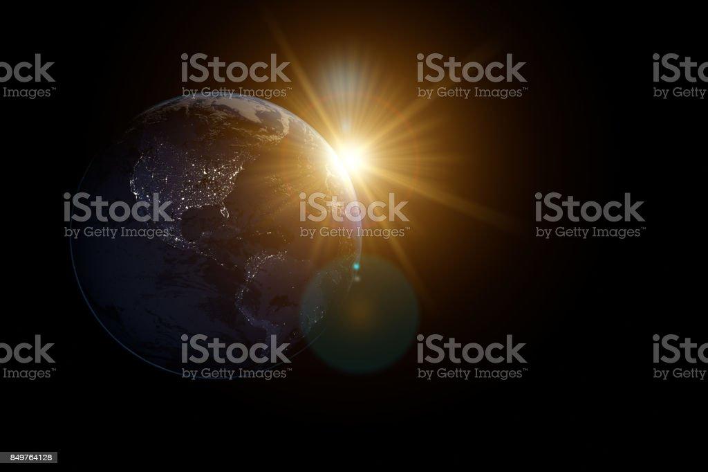 Earth and Sun stock photo