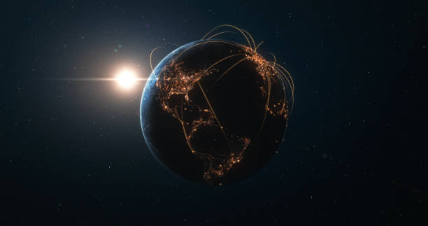 Earth And Sun Seen From Space With Glowing Connection Lines - Technology, Global Communications, Flight Routes, Big Data stock photo