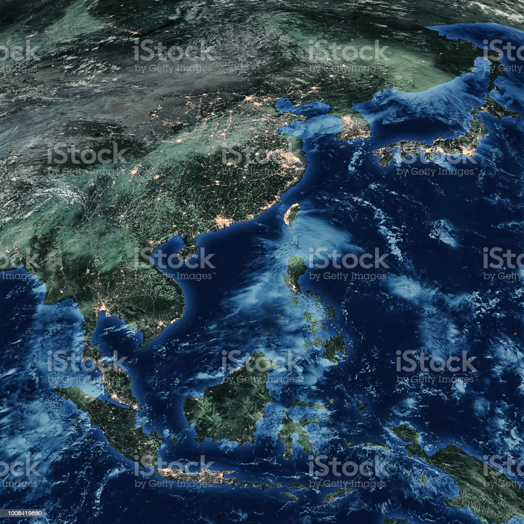 Earth at night map stock photo