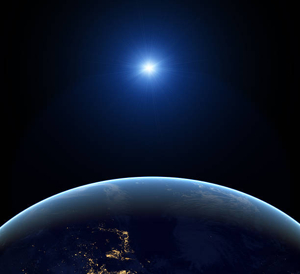 Earth at night stock photo