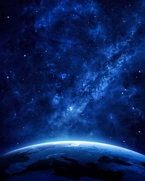 Earth at night Earth at night as seen from space with blue, glowing atmosphere and space at the top. Perfect for illustrations.  Elements of this image furnished by NASA nebula stock pictures, royalty-free photos & images