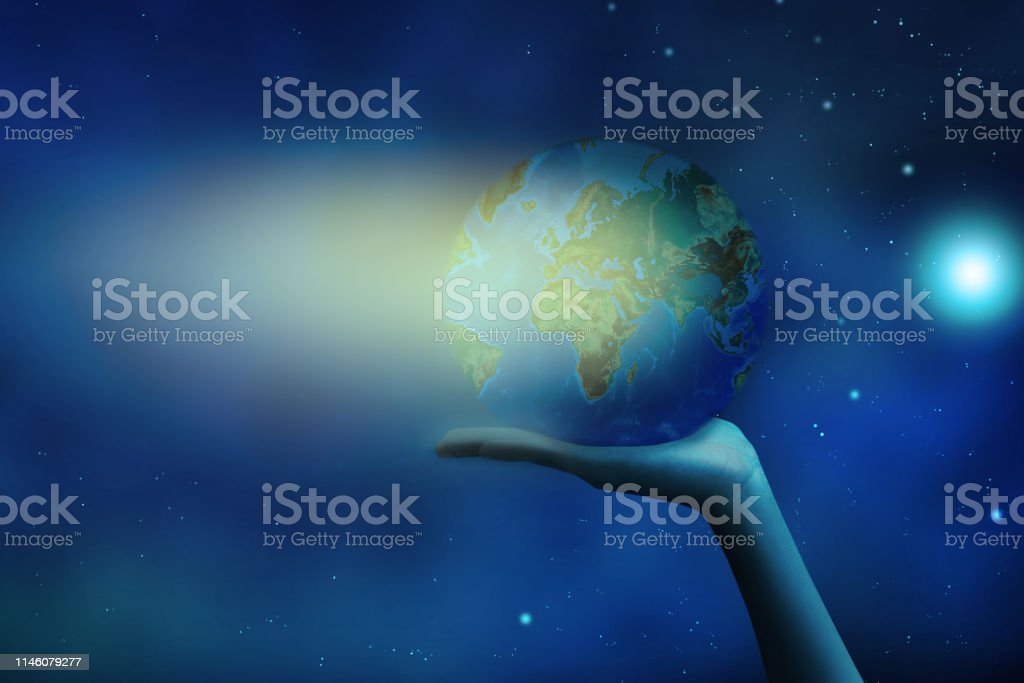 Earth at night was holding in human hands. Earth day. Energy saving...