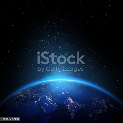 istock Earth at night with city lights 468178869