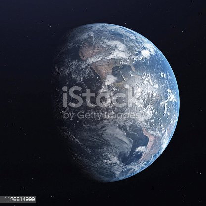 istock Earth blue planet isolated on black background. 3D render 1126614999
