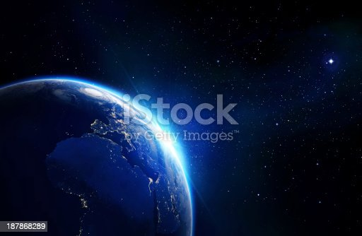 view from space: planet, horizon and stars, World network, internet..Photorealistic globe with lots of details.