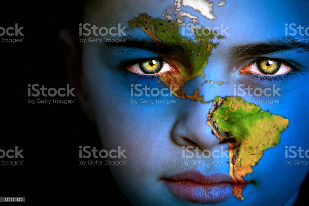 Earth boy - North and South America stock photo