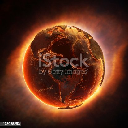 istock Earth burning after a global disaster 178088253