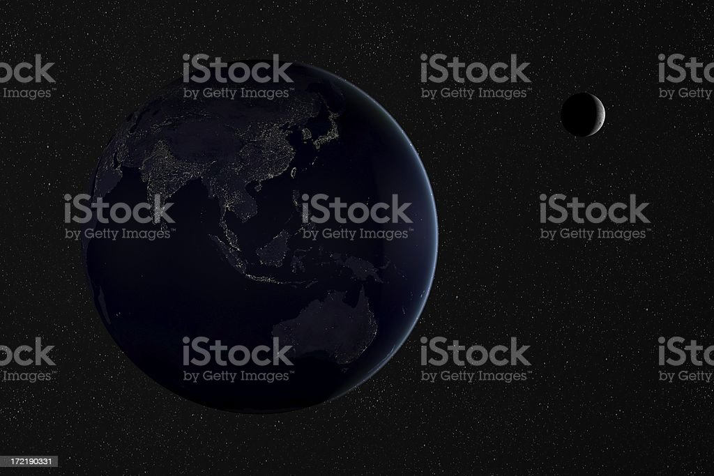 Earth by night:  Asia and Australia stock photo