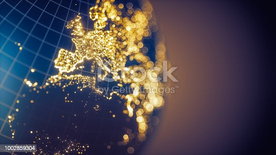 istock Earth City Lights Bokeh - Europe 1002859304