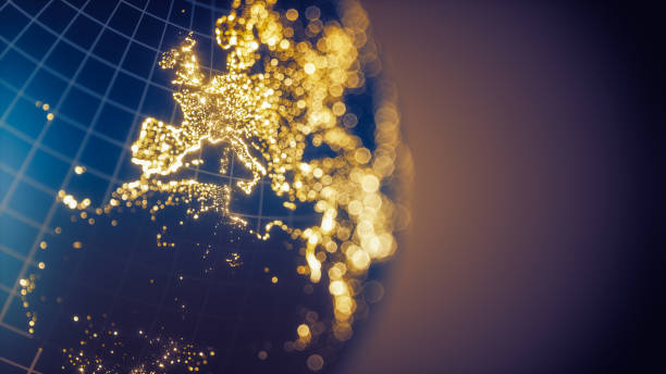 earth city lights bokeh - europe - europe map stock photos and pictures