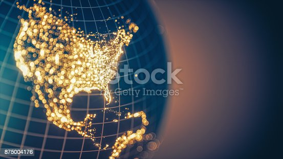 istock Earth City Lights Bokeh - North America 875004176