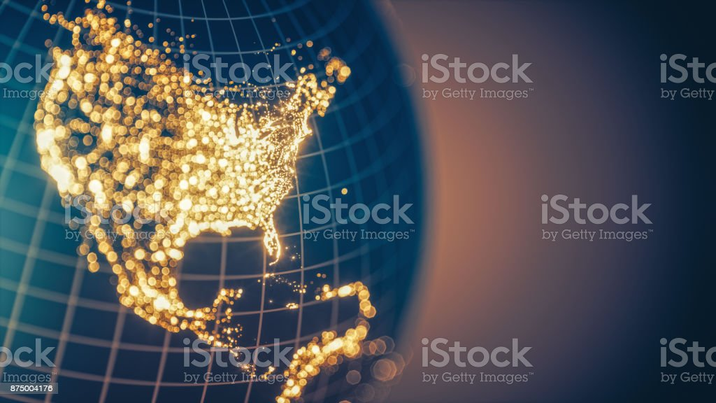 Earth City Lights Bokeh - North America stock photo
