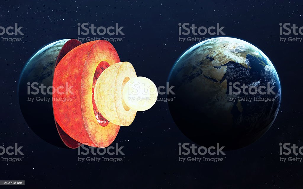Earth core structure. Elements of this image furnished by NASA stock photo