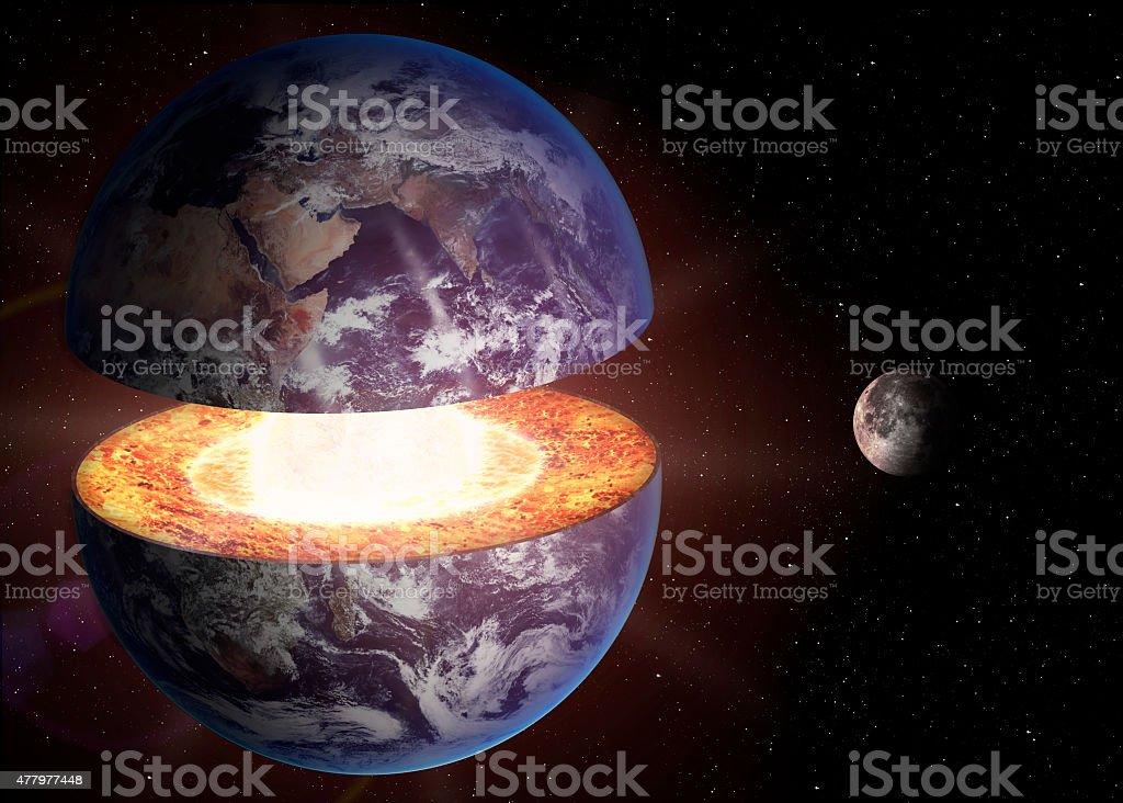 Earth core structure stock photo