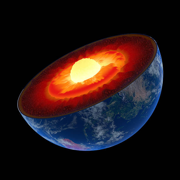 Earth core structure to scale - isolated stock photo