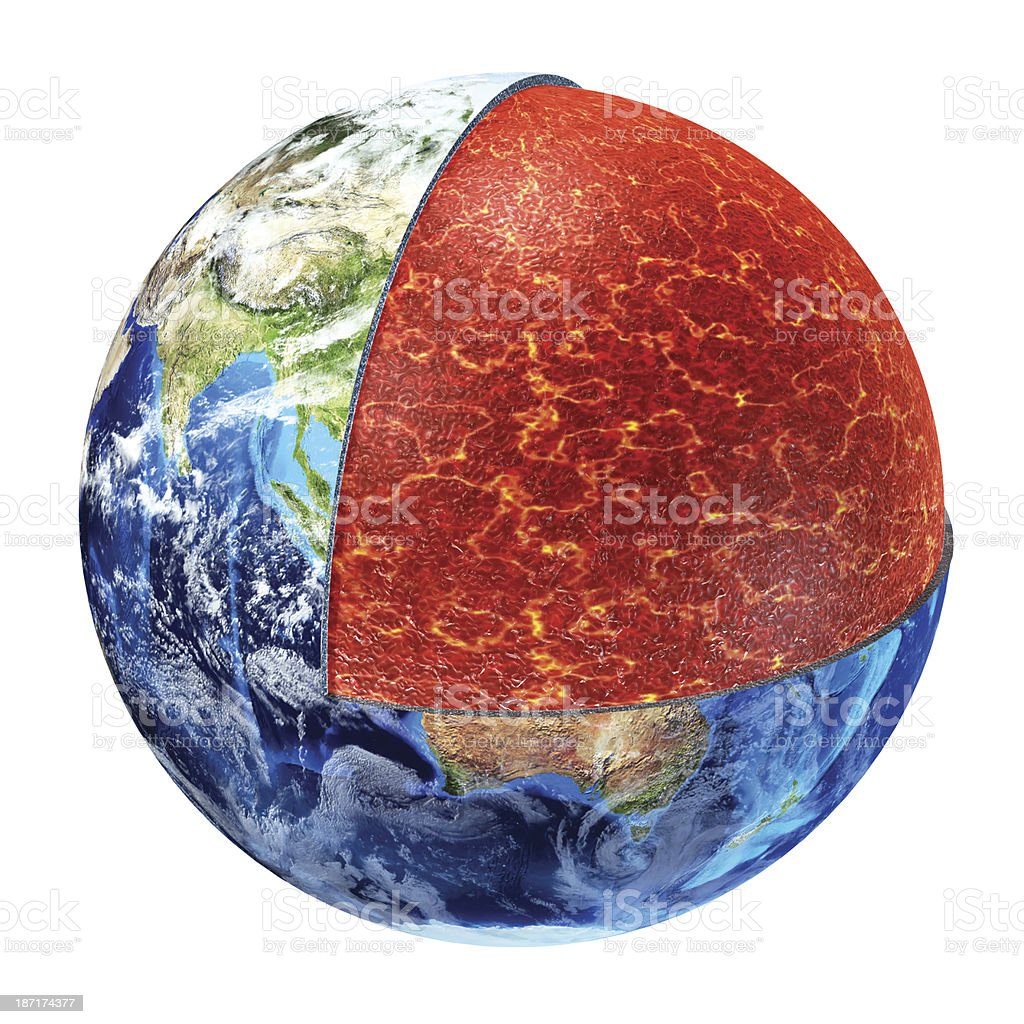 Earth cross section. Upper Mantle version. stock photo