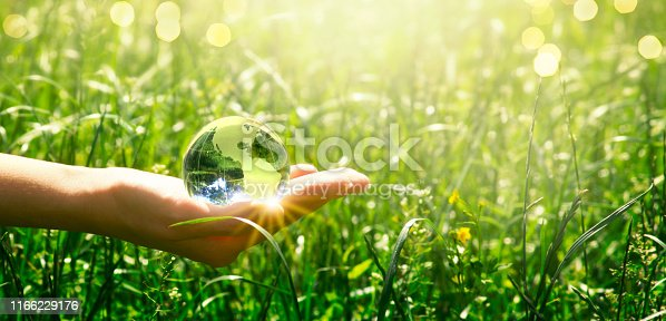 istock Earth crystal glass globe in human hand on fresh juicy grass background. Saving environment and clean green planet concept. Card for World Earth Day. 1166229176