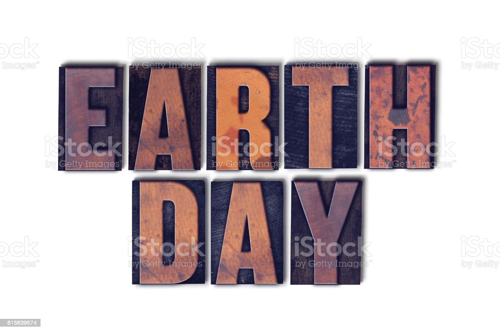 Earth Day Concept Isolated Letterpress Word stock photo