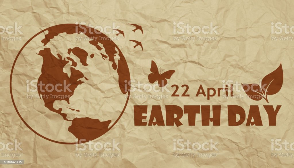 Earth Day concept poster on crumpled paper stock photo