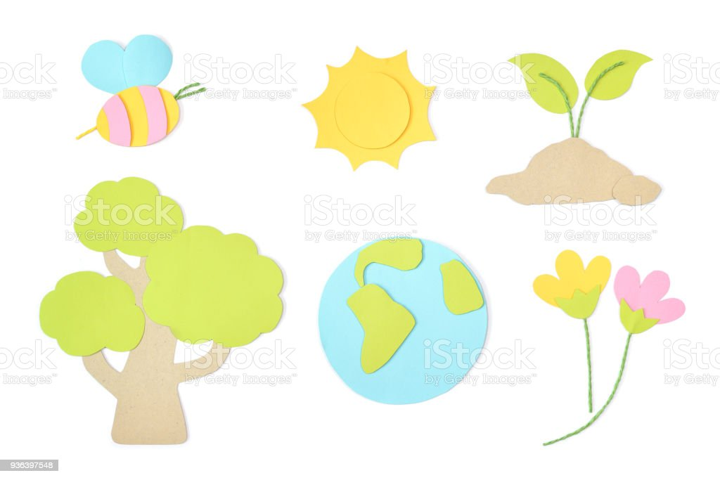 Earth day element paper cut on white background stock photo