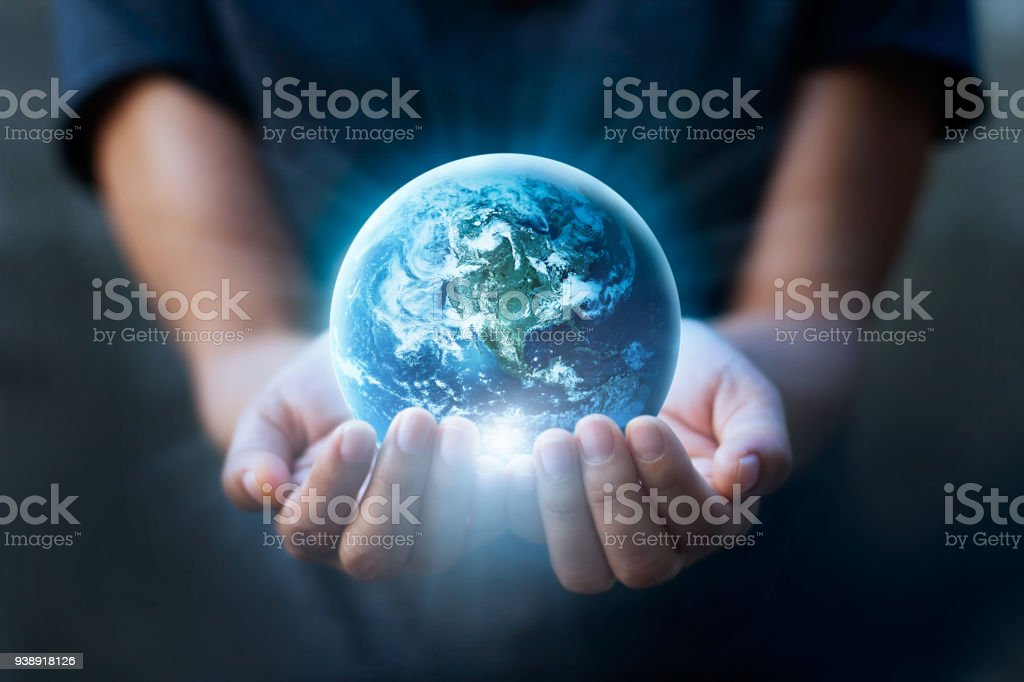Earth day, Human hands holding blue earth, save earth concept. Elements of this image furnished by NASA stock photo