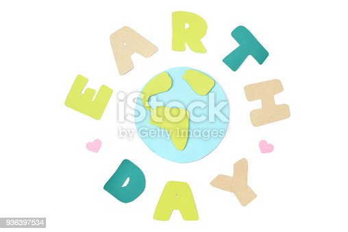 istock Earth day paper cut on white background 936397534