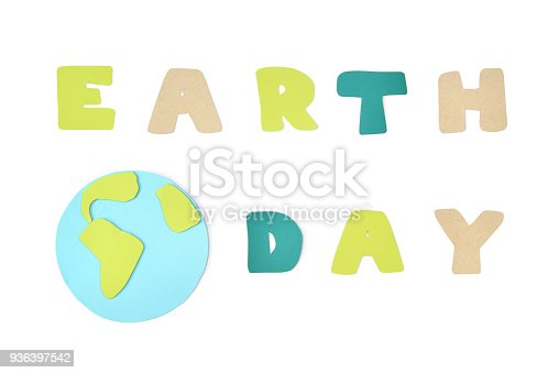 istock Earth day paper cut on white background 936397542