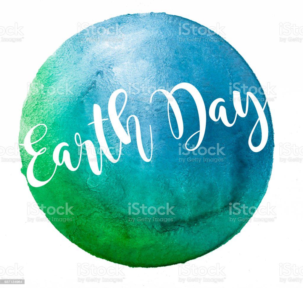 Earth Day Watercolor Design stock photo