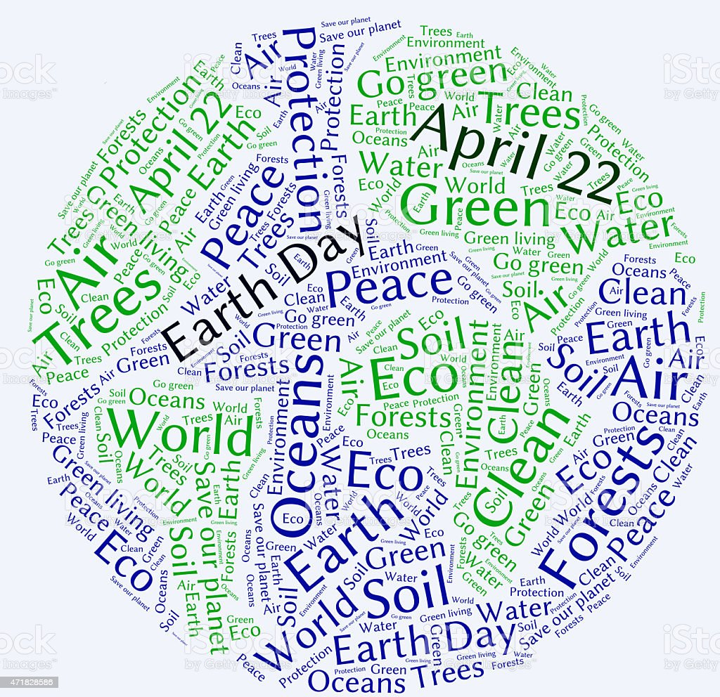Earth day word cloud stock photo