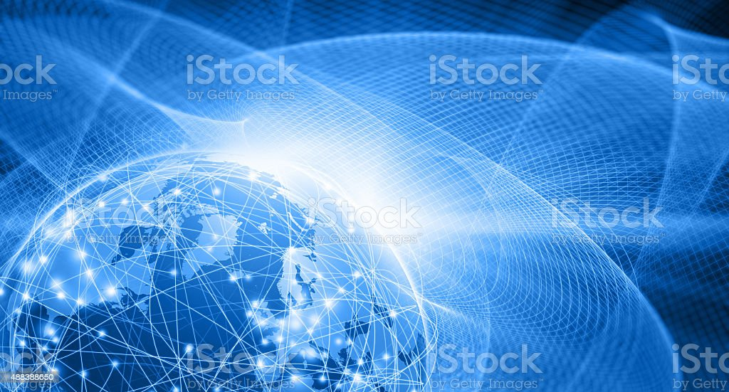 Earth floating in blue space, connected by futuristic computer network stock photo