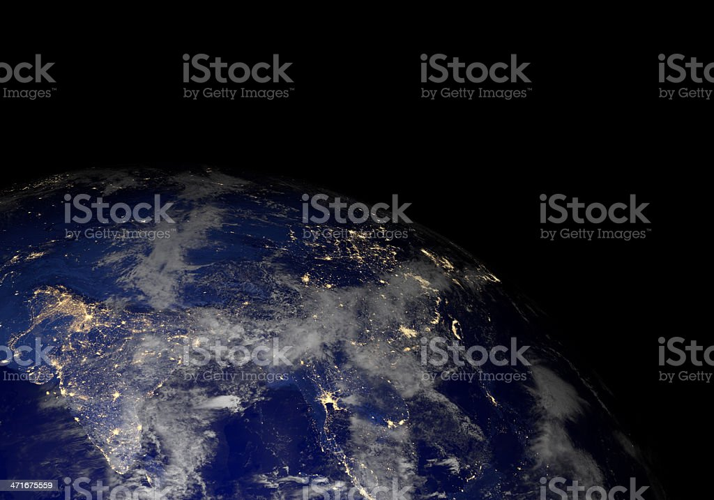 Earth from space at night. Asia. stock photo