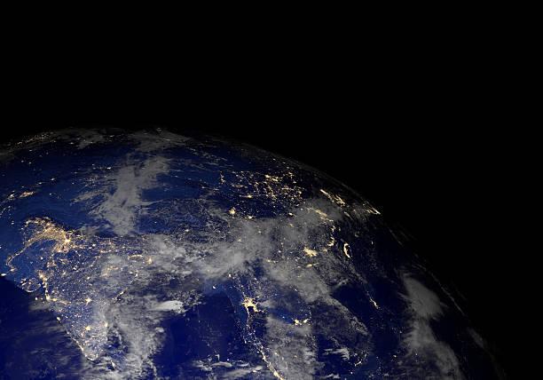 Die erde vom weltraum in der Nacht. Asien. – Foto