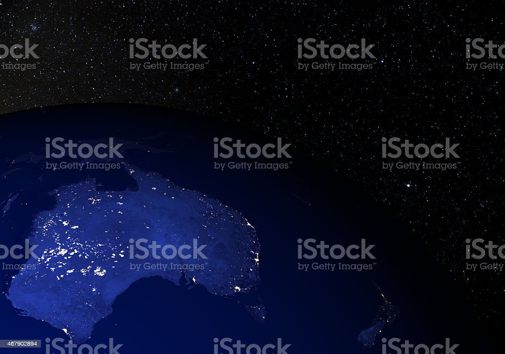 Earth from space at night. Australia & New Zealand. stock photo