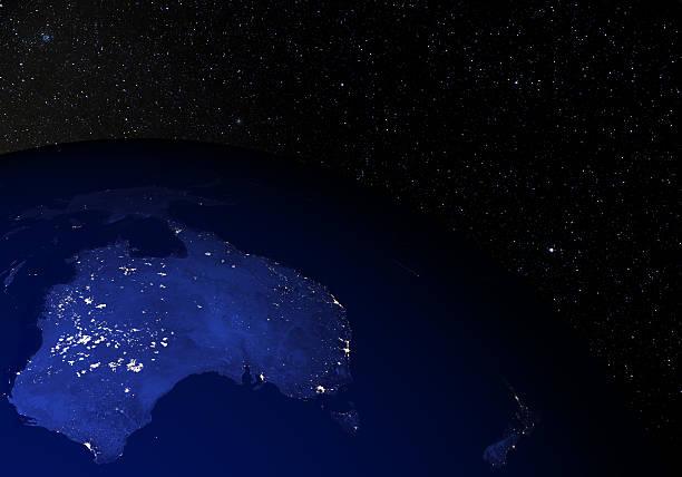 Die erde vom weltraum in der Nacht.   Australien & Neuseeland.   – Foto